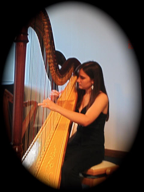 Emily playing the pedal harp.
